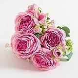MNHGYT Hermosa Rosa peonía Flores de Seda Artificiales Ramo pequeño Flores Falsas de Interior para jarrón decoración de Mesa de Oficina en casa decoración de Boda de Invierno,Fuchsia