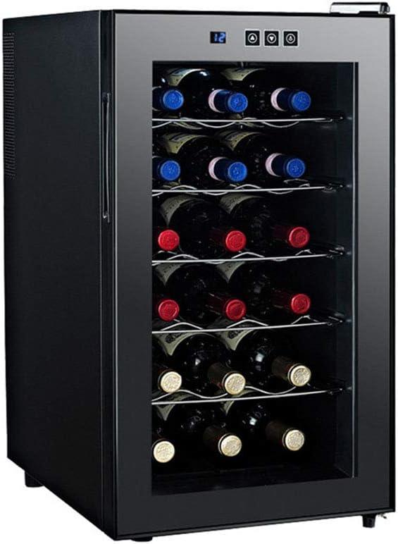 Vinoteca,18 Botellas,Volumen De 48 litros,5 Estantes,Puerta De Cristal Doble Espejo,Control De Temperatura Electrónico, Display Digital Y Panel De Control Táctil