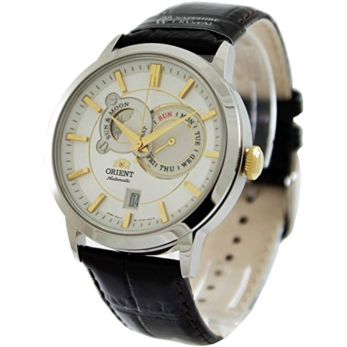 Orient Men's 41mm Black Leather Band Steel Case Sapphire Crystal Automatic White...