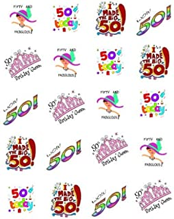 Fabulous 50th Birthday Waterslide Nail Art Decals
