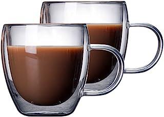 Set of 2 - Glass Coffee Mug with Handle, Double Wall Glass Coffee Cups, Coffee Gl Cups for Cappuccino, Latte, Espresso, Am...