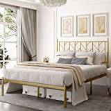 Allewie Full Size Modern Platform Bed Frame with Vintage Headboard, 14 Inches Metal Mattress Foundation with Storage, No Box Spring Needed, Easy Assembly, Gold