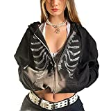 Women Skeleton Zip Up Hoodies Aesthetic Oversized Hooded Sweatshirt Jacket Tops Y2K E-Girl Streetwear Fall Clothes (B-black rhinestones skeleton, Large)