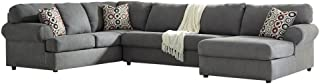 Ashley Furniture Signature Design - Jayceon Contemporary 3-Piece Sectional - Right Arm Facing Corner Chaise, Armless Loveseat, and Left Arm Facing Sofa - Steel