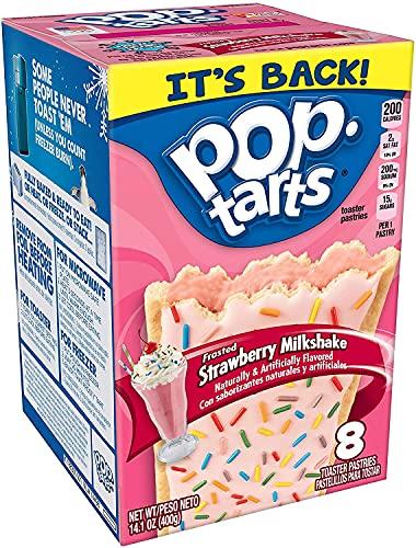 Frosted Strawberry Milkshake Pop Tarts - 8 Toaster Pastries (384g)