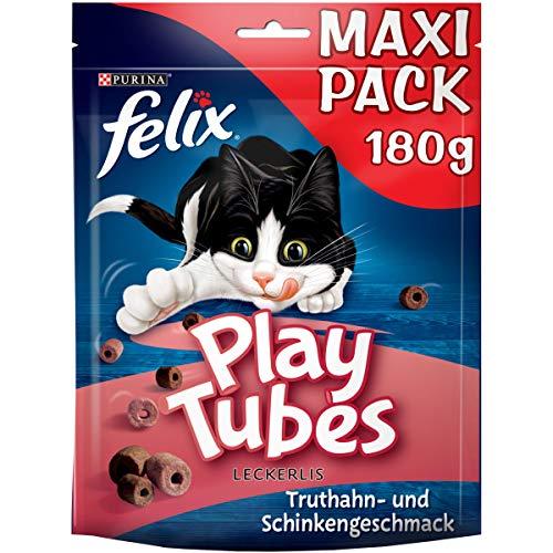 FELIX Play Tubes Katzensnack, Leckerli zum Spielen, mit Truthahn- & Schinkengeschmack, 5er Pack (5 x 180g)