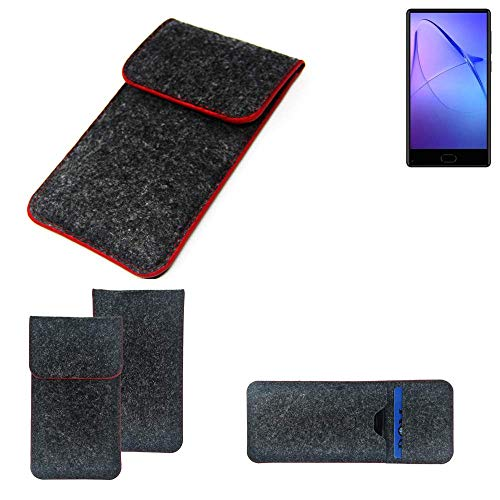 K-S-Trade Handy Schutz Hülle Für Leagoo KIICA Mix Schutzhülle Handyhülle Filztasche Pouch Tasche Hülle Sleeve Filzhülle Dunkelgrau Roter Rand