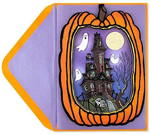 Papyrus Halloween Cards Hangable Die Cut Pumpkin With Haunted House Scene, 1 Each