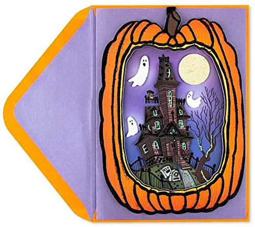 Papyrus Halloween Cards Hangable Die Cut Pumpkin With Haunted House Scene, 1 Each