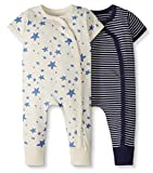 Moon and Back by Hanna Andersson Baby 2-Pack One-Piece Organic Cotton Short Sleeve Romper, Navy, 3-6 months