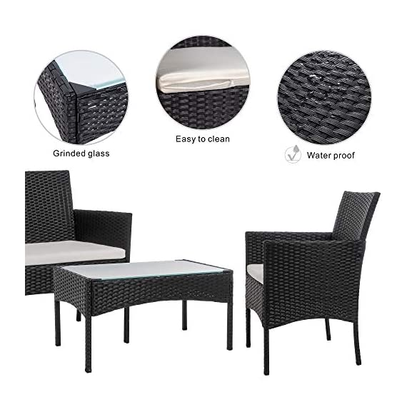 Walsunny 4 Pieces Outdoor Patio Furniture Sets Rattan Chair Wicker Set,Outdoor Indoor Use Backyard Porch Garden Poolside Balcony Furniture(Black) 3 CHARMING CONVERSATION SET – Great for small spaces or creating a cozy nook, this outdoor wicker furniture set comes with two chairs, a love-seat, and a tempered glass top table. GORGEOUS GLASS TABLE TOP – Each perfectly-sized drink table features a tempered glass top that's equally gorgeous and durable for long-lasting outdoor use. WEATHER-RESISTANT RESIN – Designed specifically for indoor or outdoor use, this wicker conversation set is strong enough to withstand the rain, sun, and wind.