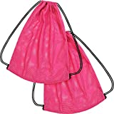 Mesh Drawstring Backpack Bag Multifunction Mesh Bag for Swimming, Gym, Clothes (Fluorescent Pink)