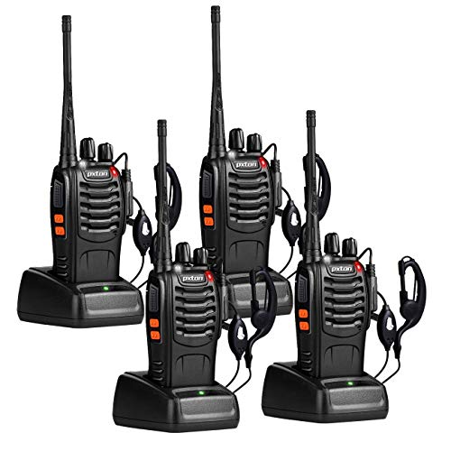 pxton Walkie Talkies Long Range for Adults with Earpieces,16 Channel Walky Talky Rechargeable Handheld Two Way Radios with Flashlight Li-ion Battery and Charger(4 Pack)