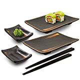 Happy Sales HSMSP-GLDBRU, Japanese Style 6 Piece Perfect Sushi Set for Two Melamine Sushi Plates Sauce Dish and Chopsticks Dinnerware Set, Gold Brush Sushi dinnerware gift set includes two rectangular shape plate with two sauce dish and two pairs of ...