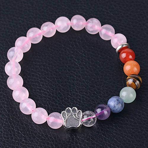 Stone Bracelet,Vintage Gothic Unisex 7 Chakra Natural Beads Adjustable Bangle Silver-Color Bear Paw Crystal With Pink Rose Quartz Stone Beaded Bracelets For Women Birthday Party Men Friend Gift