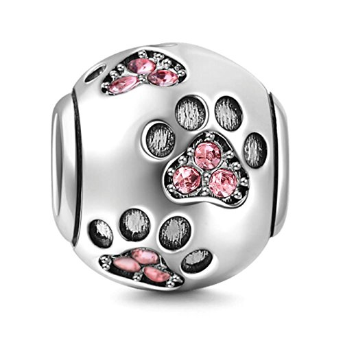 Dije para pulsera Pandora, dije con diseño de huella de pata de perro, plata de ley 925, dije para...