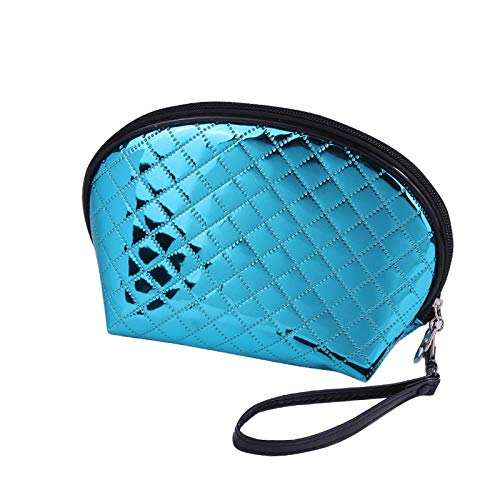 Sac de Rangement de Lavage en Cuir Brillant Sac cosmétique de Voyage Portable Portable Wash Blue