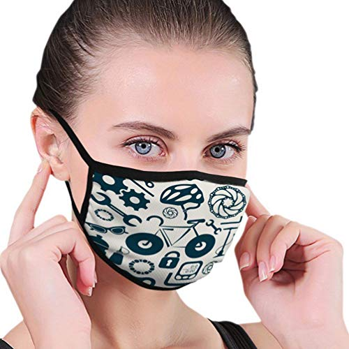 Mundschutz Gesichtsschutz für Männer und Frauen Fahrradwerkzeuge Ausrüstung Zubehör Retro Icons Happy