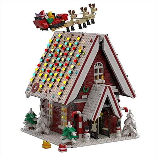 WWEI Baustein - Casa di Natale, 2840 pezzi, casetta invernale modulare per la casa, architettura, calendario dell'Avvento 2021 con mattoncini compatibili con Lego 10267