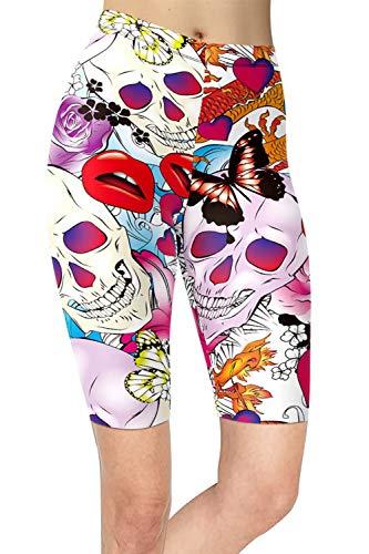 sissycos Leggings cortos para mujer, estampado de cráneo, multicolor, pantalones cortos de los años 80, pantalones cortos para niña, pantalones cortos de ocio básicos Skull-0574 S/L