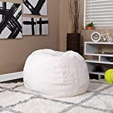 Flash Furniture Small White Furry Bean Bag Chair for Kids and Teens