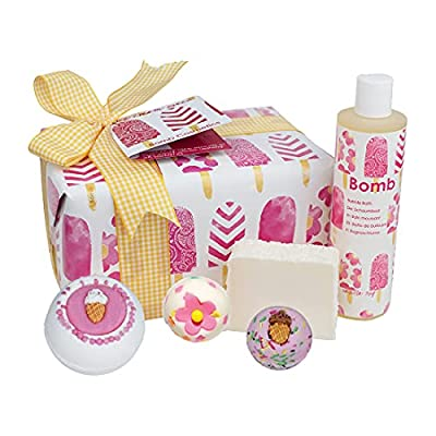 Bomb Cosmetics Ice Cream Queen Handmade Wrapped Bath & Body Gift Pack, Contains 5-Pieces, 620g from Get Fresh Cosmetics Ta Bomb Cosmetics