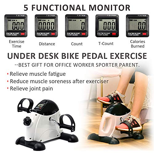 DECELI Under Desk Bike Pedal Exerciser - Portable Mini Exercise Bike
