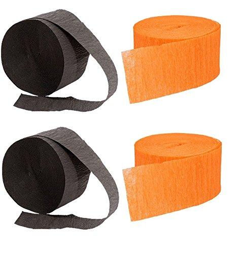 2 Orange Rolls and 2 Black Crepe Streamers