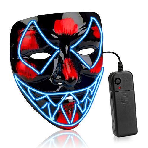 AnseeDirect Mascara Led Halloween Mascara Hombre Venom Cosplay Led Disfraz Mascara Terror El Wire Light Up Power Purge Mask para Fiestas Festival Fiesta De Disfraces Navidad