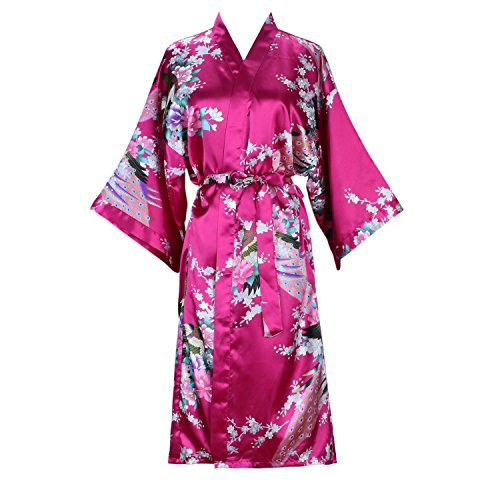 ELLENWELL Women's Kimono Robe Peacock & Blossoms Satin Nightwear Long(Medium,Rose-red)