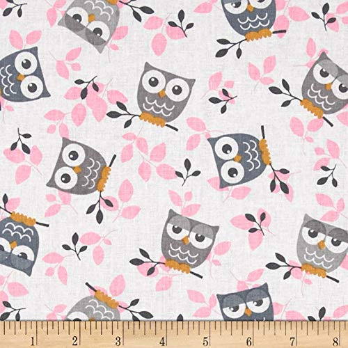 Richland Textiles Tossed Owls White/Gray/Pink Fabric By The Yard