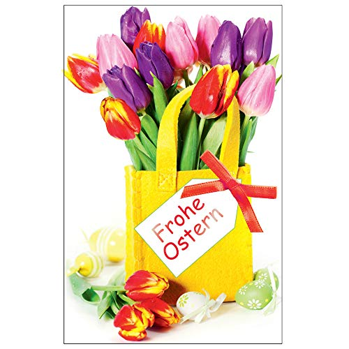 Susy Card 40025773 wenskaart Pasen, haas met klaporen Tulpen in vilten tas