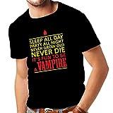 lepni.me Camisetas Hombre Dormir Todo el día, Fiesta Toda la Noche, Nunca envejecer, Nunca Morir, es Divertido ser un Vampiro - Regalo de Humor (XXX-Large Negro Amarillo)