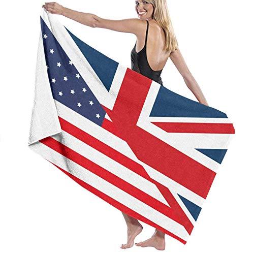 FETEAM Bandera Americana británica Toallas de Playa Poliéster Sábanas de baño Suaves de Secado rápido Verano Cool Travel Toallas de baño Grandes para Estera de Yoga Manta de Playa