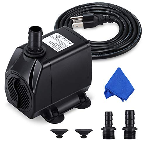 Fountain Pump, 880GPH Submersible Water Pump, Durable 60W Outdoor Fountain Water Pump with 6.5ft Power Cord, 3 Nozzles for Aquarium, Pond, Fish Tank, Water Pump Hydroponics, Backyard Fountain