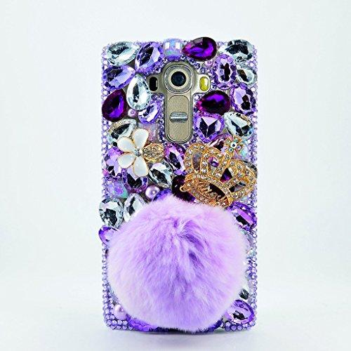 LG K7 Case, LG Tribute 5 Case, LU2000 3D Pompom Crystals Diamond Sparkle Jeweled [Crown Series] Bling Fur Phone Hard Case Cover for LG K7/Tribute 5 Verizon Sprint T-Mobile - Villus Flowers/Pompom