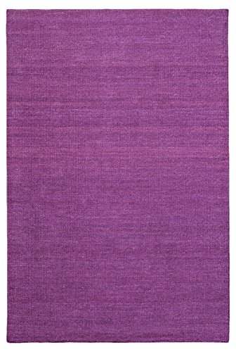 Morgenland Kelim Teppich FANCY Lila Einfarbig Uni Wollteppich Kurzflor Handgewebt 200 x 140 cm