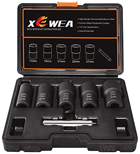 XEWEA Twist Lug Bolt Extractor Set with Center Punch Bar, Nut Removal Extractor Socket Tool Metric 17mm 19mm 21mm 22mm 27mm 6Pcs