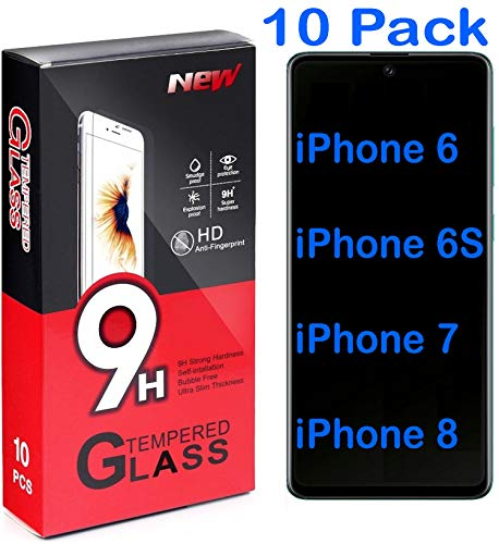 tomaxx [10 Stück Panzerglas für iPhone SE 2020, iPhone 6, iPhone 6S, iPhone 7 und iPhone 8, Gehärtetes Schutzglas Glas 9H Schutzfolie 9H Härte, Kratzfest, Blasenfrei