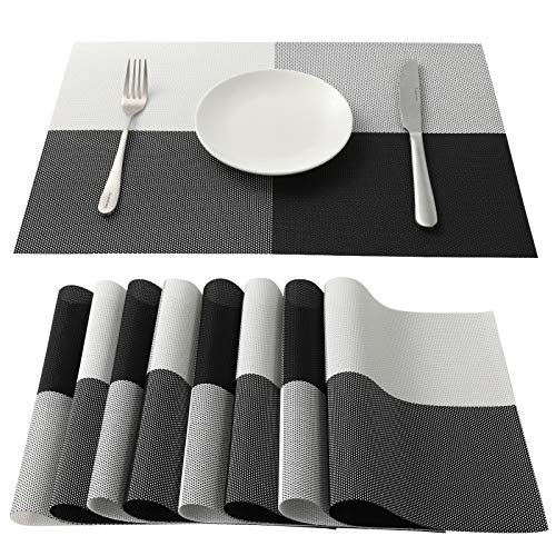 Zoymensu Placemats of 8 Pcs Heat-Resistant Washable Rectangular Place Mats Decoration for Dining Table (Black White Plaid-8)