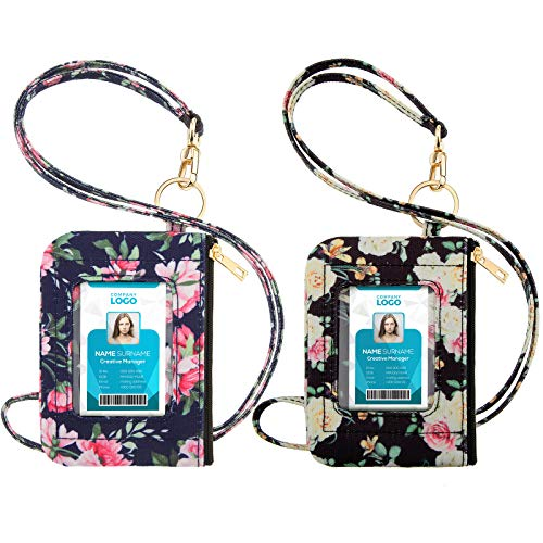 2 Pieces ID Badge Holder with Lanyard, Cute Floral Lanyard Wallet with Clear ID Window, ID Card Lanyard Holder Zip ID Case with a Detachable Neck Lanyard and a Wrist Lanyard for Girl Women