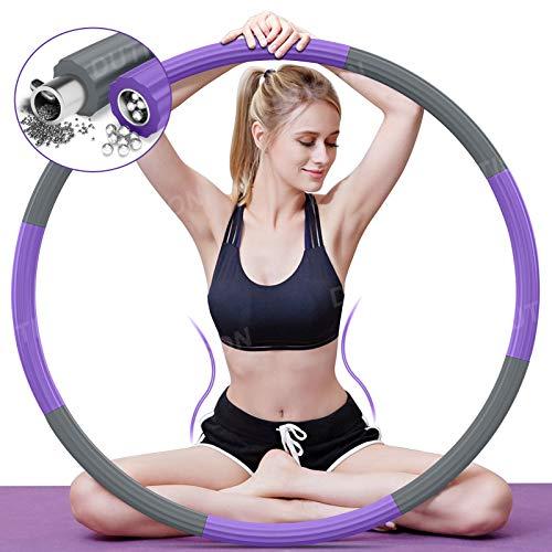DUTISON Hula Hoop Professionale, Hula Hoop Adulti Fitness per Design Staccabile a 8 sezioni con Mini Metro a Nastro,Hula Hoop Adatto ai Adulti e Bambini per esercitare e Perdere Peso (Blu rosa/1kg)