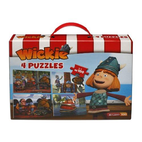 Studio 100 MEVI00000220 - Wickie und die starken Männer, Puzzle-Koffer, 4 x 100 Teile