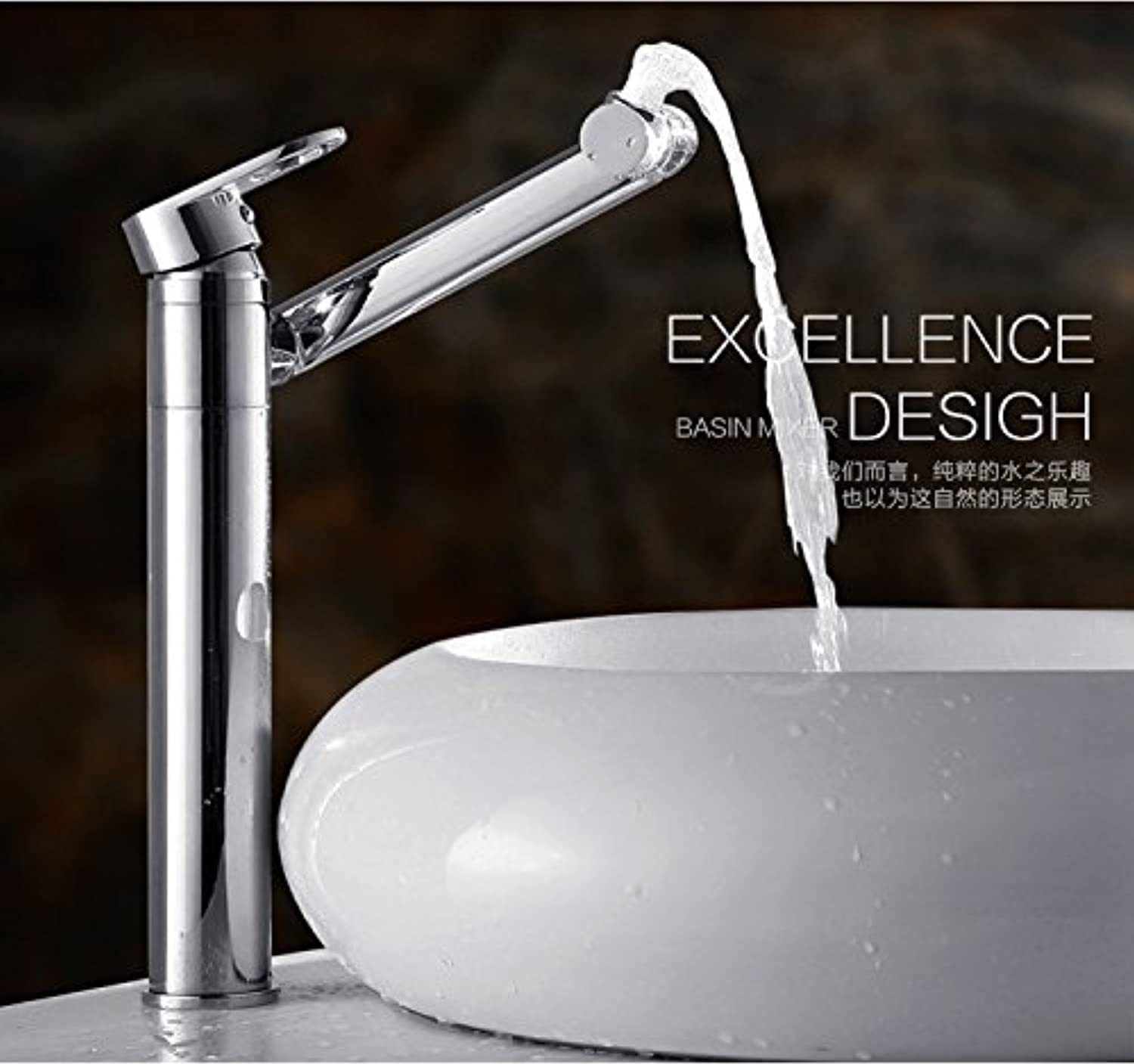 ETERNAL QUALITY Bathroom Sink Basin Tap Brass Mixer Tap Washroom Mixer Faucet The brass faucets single hole basin faucet hot and cold basin faucet swivel fittings with hi