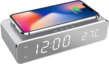 置き時計 QIワイヤレス充電機能 目覚まし時計 アラームクロック USB給電 android iphone充電器 iPhone8以上対応 Fomobest カレンダー付き 温度計 時間記憶 省エネ 日本語説明書付き