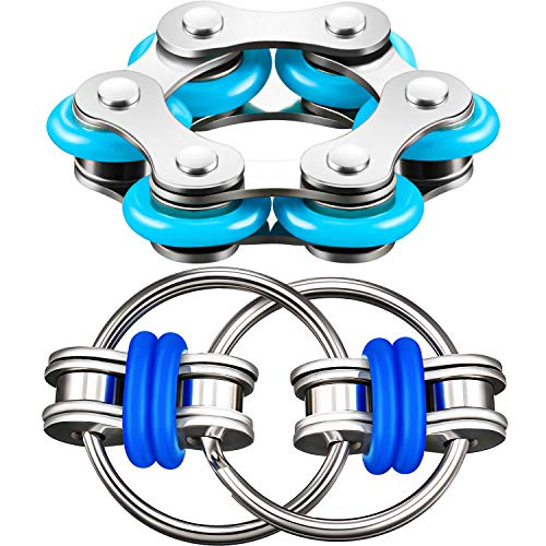 Gejoy Fidget Toy Set Include Six Roller Chain Fidget and Key Flippy Chain Stress Reducers for Autism Stress and Anxiety Relief (Light Blue, Dark Blue)
