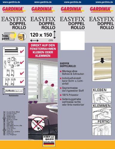 GARDINIA Doppelrollo zum Klemmen oder Kleben, Duo-Rollo/ Seitenzugrollo, Transparente und blickdichte Streifen, Alle Montage-Teile inklusive, Weiß, 120 x 150 cm (BxH) - 8