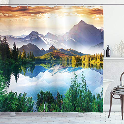 Ambesonne Scenic Decor Collection, Mountain Lake View Sunny Day Nature Picture Art Paintings Effect Print, Polyester Fabric Bathroom Shower Curtain Set with Hooks, Green/Blue/Brown