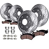 Detroit Axle - Front and Rear Brake Drilled Rotors and...