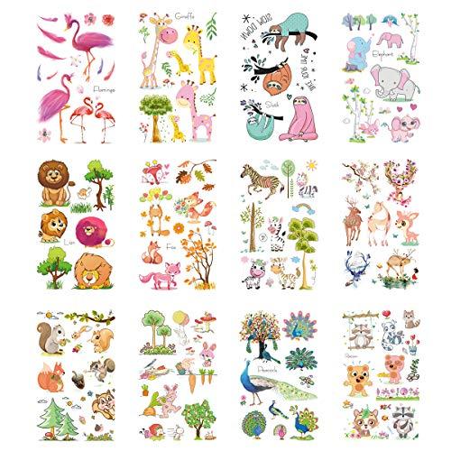 VIIRY Flamingo Elephant Lion Giraffe Temporary Tattoos for Kids, 12 Sheets Kids Cartoon Animal Tattoos Stickers for Stuffers Party Decorations